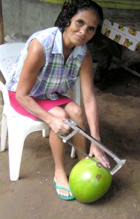 The hard calabash must first be cut with a hacksaw