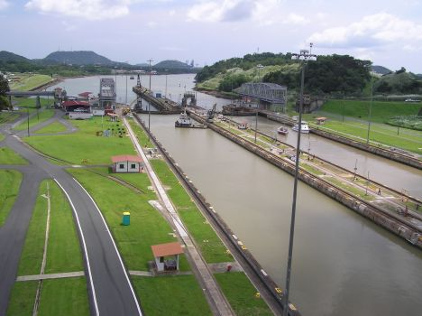 Miraflores lock looking south to Pacific