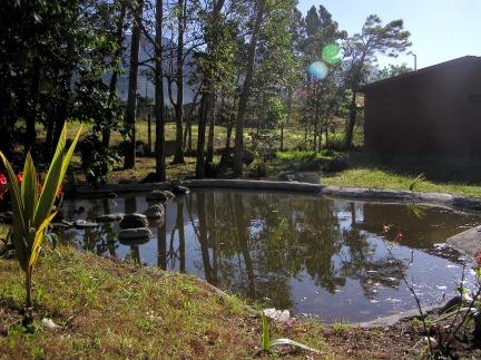 ornamental pond with view to Baru Volcano