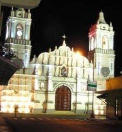 Cathedral bathed in floodlights.