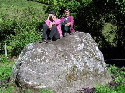 Olga and Gladys Castillo, owners of the rock.