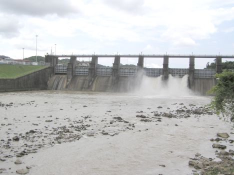 excess water is drained through spillway