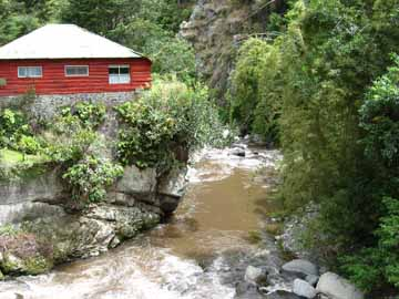 Occupants of this peaceful log cabin are soothed by the rushing waters near Bambito.